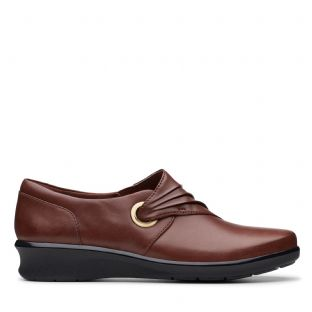 Clarks Hope Shine Mahogany Leather Womens Shoes